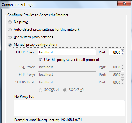 Firefox proxy config